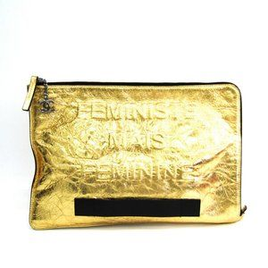 Chanel A82164 Women's Leather Clutch Bag Gold